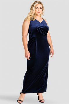 75a4763c1fb Standards   Practices Plus Size V-Neck Midnight Blue Velvet Maxi Dress Size