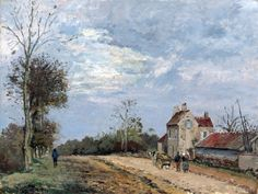 """Camille Pissarro - Mia Feigelson's FB Gallery """"The House of Monsieur Musy, Route de Marly, Louveciennes"""" (1872) By Camille Pissarro (French, 1830 - 1903) - oil on canvas; 41.3 x 54.7 cm; 16.26 x 21.54 in -  Place of creation: Luveciennes, France (Louveciennes is situated in the western suburbs of Paris) Private Collection"""