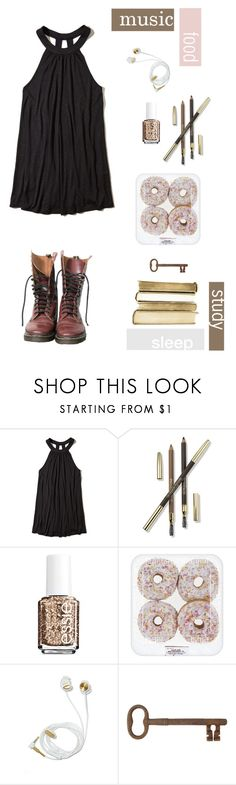 """""""All day, all night, routine and glitter."""" by goblilin ❤ liked on Polyvore featuring Dr. Martens, Hollister Co., Lancôme, Essie, Jayson Home and lilyslovelystuff"""