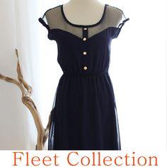 PETIT DEJEUNER  BLEU Black Lace Illusion by FleetCollection, $48.00