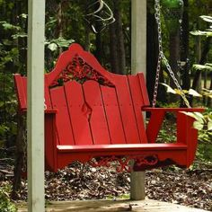 Outdoor Swing in Southern Pine with Cast Inserts (Coral Red). Constructed of Southern Pine. Suitable for residential or commercial use. Please note: Natural wood option will mature to a silver patina. Outdoor Games, Outdoor Decor, Porches, Patio Swing, Porch Swings, Tree Swings, Wood Swing, Garden Swings, Backyard Swings