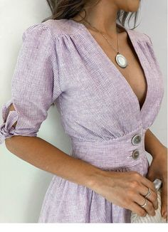 Vestido-Linho-Tayna elegant dress and fashion for women Cute Dresses, Casual Dresses, Casual Outfits, Fashion Dresses, Cute Outfits, Dress Outfits, Mode Shoes, Retro Fashion, Womens Fashion