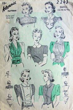 1930s Advance 2243 Collar and Gilet Jabot Pattern 6 Great Styles Daytime or Evening Perfect Under Suits Vintage Sewing Pattern