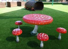 Children\'s Fairy Enchanted Toadstool Garden Table And Stool Outdoor ...