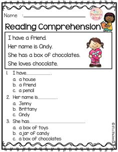 February Reading Comprehension February Reading Comprehension is suitable for Kindergarten students or beginning readers.This set also available in black and white version First Grade Worksheets, Free Kindergarten Worksheets, Kindergarten Reading, Preschool Kindergarten, Teaching Reading, Reading Comprehension Worksheets, Comprehension Questions, English Reading, First Grade Reading