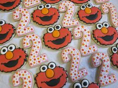 Sesame Street Elmo and Number Decorated Sugar Cookies Collection - Elmo Cookies, Birthday Party, Sesame Street Party, Number Cookies