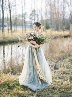 Luminous & enchanting winter prairie wedding inspiration via Magnolia Rouge Ballroom Wedding Dresses, Blue Wedding Dresses, Wedding Gowns, Summer Wedding Bouquets, Fall Wedding Flowers, Pastel Blue Wedding, Bridal Portraits, Perfect Wedding, Winter