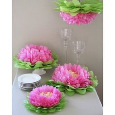 Martha Stewart Crafts 44-20204 Chrysanthemum Flowers Tissue Pom-Pom Kit, Pink