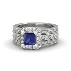 Princess Sapphire 14K White Gold Ring with Diamond - lay_down
