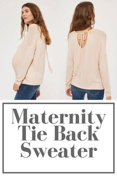Maternity tie back sweater. #maternity #pregnancy #bumpstyle #sweater #nude #fashion #style #tieback #winter #fall #affiliate