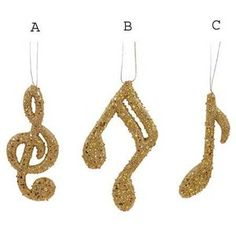 Gold Glitter Note, Music, Christmas Ornaments - Polyvore