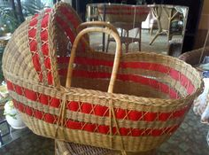Vintage Full Size Wicker Moses Basket or Bassinet by thecityloft, $125.00