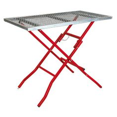 It may look more like an industrial ironing board, but it's actually a folding table designed for use while welding. Welding Table, Metal Welding, Folding Chair, Outdoor Decor, Tables, Industrial, Board, Design, Accessories