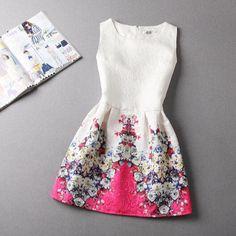 Vintage Jacquard Printed Sleeveless Dress – rwteaalig