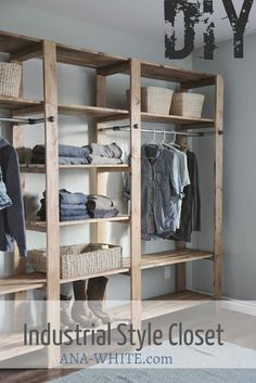 DIY wood and pipe closet