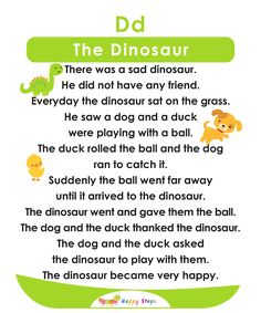 The Dinosaur Alphabet Stories Small Stories For Kids, English Stories For Kids, Moral Stories For Kids, English Worksheets For Kids, English Story, English Lessons For Kids, Kids English, English Reading, Reading Worksheets