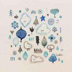 """""""푸른 밤 몽실몽실 연필.색연필 드로잉북2015. By.jekim wisderland.com #jekim #wisderland #draw #drawing #illust #doodle #book #note #illustration #그림 #드로잉 #일러스트 #낙서 #제킴…"""""""