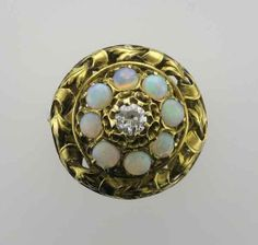 14 Karat Yellow Gold Opal and Diamond Ring by PattyHansenGallery, $1800.00