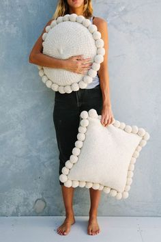 Hugging our Pampa Pom Pom cushions! • creative cute throw pillows • boho • rustic • farmhouse • shabby chic homemade & to buy • cover pillow case set •
