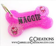 Hello cute Kitty Bone Dog Tag - Pink Glitter - Personalized Custom Handmade Dog Pet ID