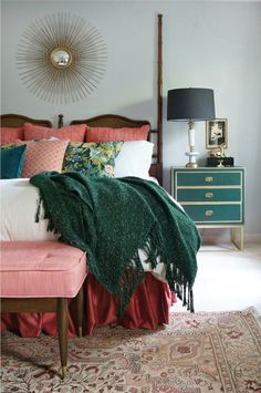 Emerald and raspberry pink master bedroom design… Green Bedroom Design, Green Bedroom Decor, Modern Bedroom Decor, Bedroom Colors, Bedroom Ideas, Bedroom Designs, Eclectic Bedrooms, Contemporary Bedroom, Contemporary Kitchens