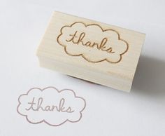 thanks cloud wooden rubber stamp by eatpraycreate on Etsy