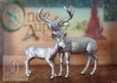 Metallic Silver Deer Cake Topper - Buck and Doe Pair