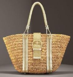 MICHAEL KORS SANTORI STRAW BAG retail price $695 on sale for $280