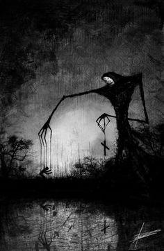 Afbeelding ontdekt door Dani.. Ontdek (en bewaar!) je eigen afbeeldingen en video's op We Heart It Creepy Drawings, Dark Art Drawings, Creepy Art, Dark Artwork, Demon Artwork, Creepy Paintings, Creepy Pics, Arte Horror, Horror Art