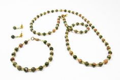 Unakite with Gold Accents Jewelry Set by kiddercreations on Etsy, $25.00