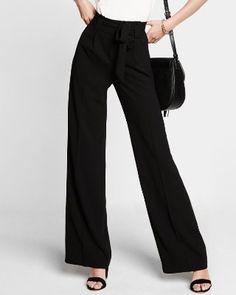 paper bag waist wide leg pants