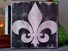 Fleur de Lis, Custom wood sign, wall art, home decor, New Orleans