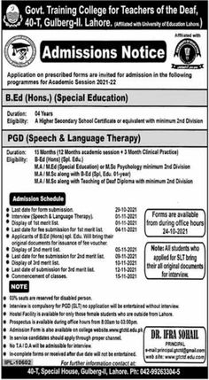 B. Ed Hons Admission 2021 in Pakistan at Govt Training College for Teacher of the Deaf Lahore