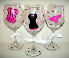 Bachelorette Party Hand Painted Glasses by kraftymamaboutique