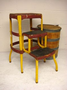 Vintage Kitchen Stool Cosco Step Stool Folding Step Stool Yellow u0026 Red Metal & 1950s Atomic Kitchen Vintage Costco Stylaire Step Stool Chair ... islam-shia.org