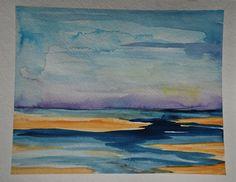 Abstract beach painting sand ocean watercolor purple sky 8x10. $25.00, via Etsy.
