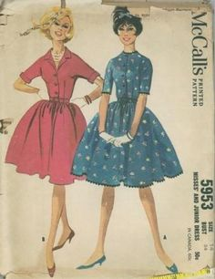 An original ca. 1961 McCall's pattern 5953.  Misses' and Junior Dress. Dress with dart fitted, front buttoned bodice and four-gore gathered skirt. Unmounted, above-elbow sleeves, with or without cuffs. Dress may be collarless or have self fabric or contrasting collar. Without collar and cuffs, neck and sleeves may be trimmed with military braid, or neck, sleeves and skirt with jumbo rick rack braid. Zipper in center front of skirt.