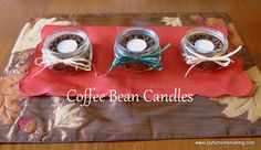 Coffee Bean Candle Centerpiece ~ joyfulhomemaking.com