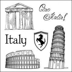 Tampon Scrapberry's dessin Italie Ferrari tour