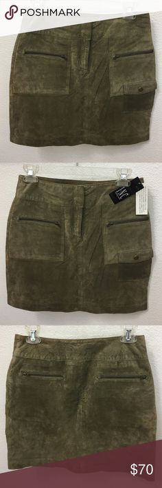 INC Suede Mini Skirt Brand New // Tags still attached // Suede INC Mine Skirt with zip front and back pockets INC International Concepts Skirts Mini
