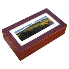 Stonehouse Mahogany Cigar Humidor -- Famous Golf Courses - PEBBL8H