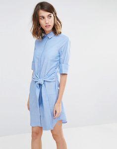 a893c008596 Image 1 of Warehouse Clean Cotton Tie Front Shirt Dress Tie Dress
