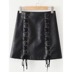 Lace Up PU Skirt (3.24 PEN) ❤ liked on Polyvore featuring skirts, pu skirt, lace up front skirt and lace up skirt