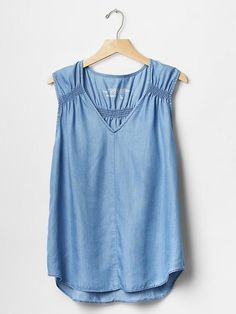 Designer Clothes, Shoes & Bags for Women Stitch Fix Outfits, Casual Tops For Women, Blouses For Women, Denim Shirt Dress, Denim Top, Jeans, Casual Outfits, Navy Women, Ruffle Sleeve