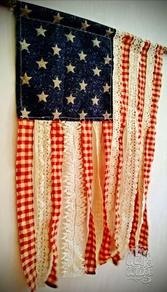 Patriotic Stars and Stripes in Vintage Farmhouse Style. Antique lace + Red, White & Blue = My new favorite 4th of July American Flag decoration!