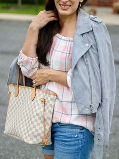 Pink Plaid Off the Shoulder Top, Gray Suede Jacket, Vince Camuto Booties