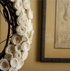 felt rose wreath...so into wreaths right now.