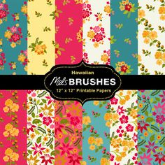 "Twelve printable 12"" x12"" Hawaiian inspired floral digital papers to print out and use for crafts, scrapbooking, decoupage, gift wrap and more. These are bright, kitsch and ever so slightly tacky (on purpose!) Very 2012.. Who wouldnt want a shirt or a skirt like this?!"