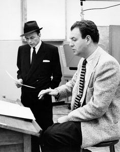 Frank Sinatra and Nelson Riddle in the studio, c. 1955