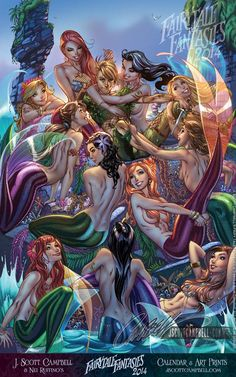 Peter Pan and Mermaids by J. Scott Campbell